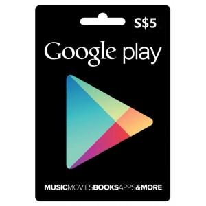 新加坡谷歌Play礼品卡兑换码-GOOGLE-PLAY-GiftCard-谷歌礼品卡充值卡-5新币-5SGD